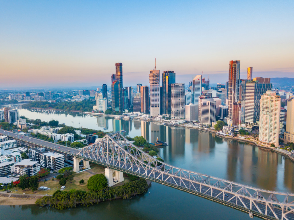 Brisbane River and CBD aerial view